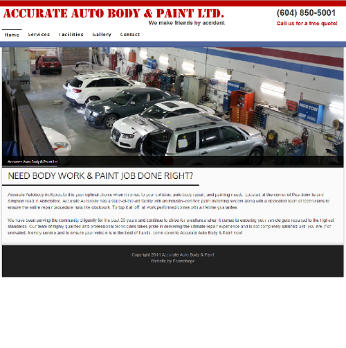 Accurate Auto Body & Paint - Wordpress Website